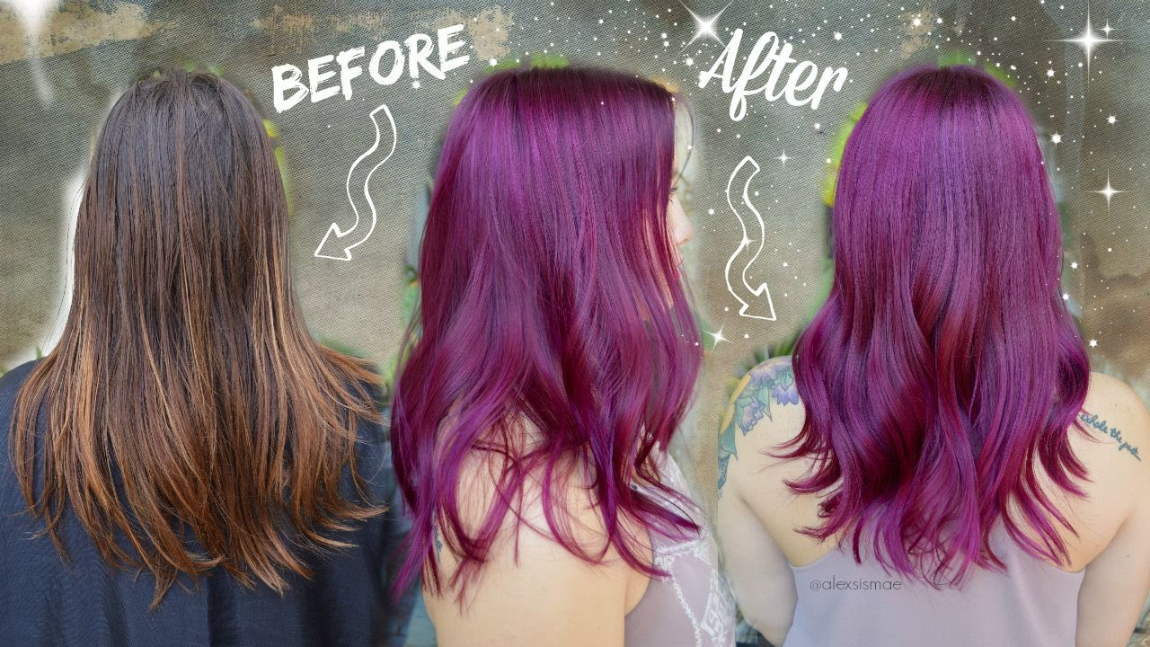 Purple/Magenta Permanent Hair Color Makeover  UNICORN