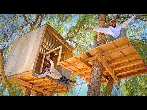 Built Secret Treehouse City! *24 Hours*