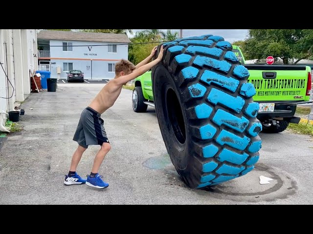 World Strongest 10-Year Old Kid Pushes a Truck!