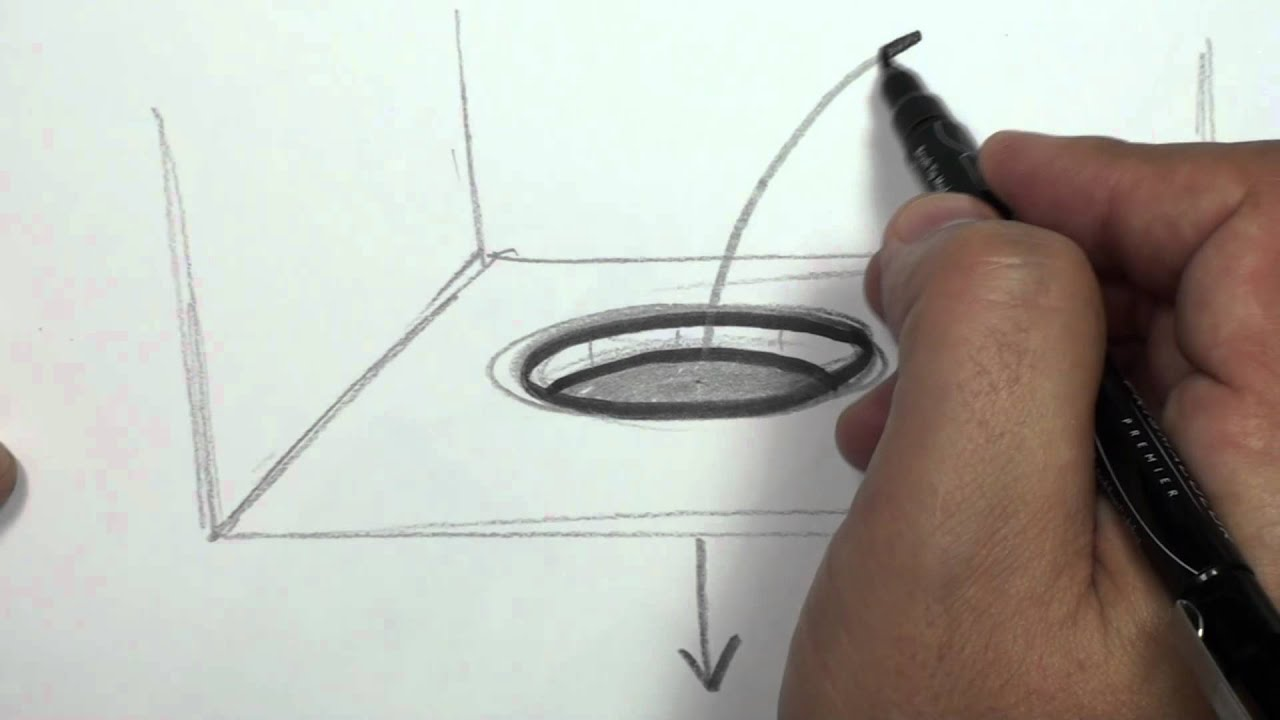 How To Draw A 3d Hole Draw A Hole In Paper Mat Youtube