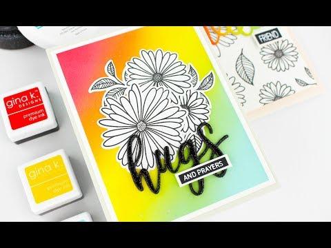 Elegant Asters Card Kit   Gina K Designs   DIY Glitter Paper