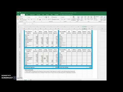Education Financial Plan Excel Spreadsheet Template