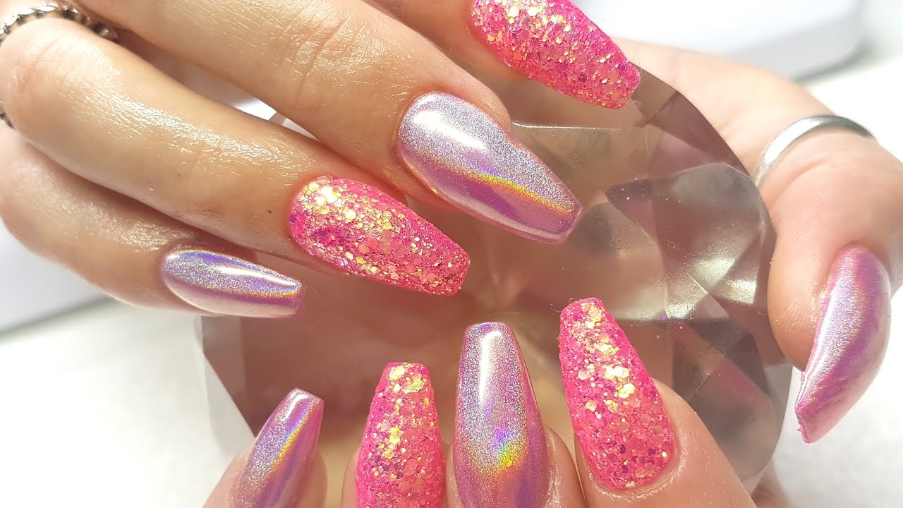 Acrylic Nails Hot Pink Holo Glitter Nail Design