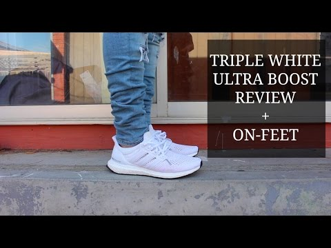 3840d842bc3 Triple White Adidas Ultra Boost Review + On-Feet - YT