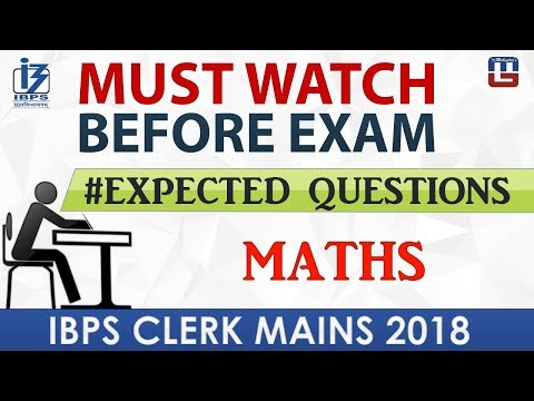 #Expected Questions | Must Watch Before Exam | Maths | IBPS Clerk Mains 2018