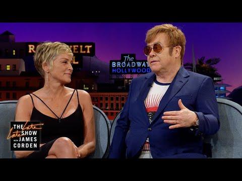 Elton John & Sharon Stone Can Birthday Bash