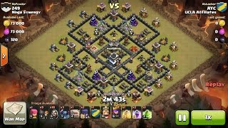 Clash of Clans TH9 vs TH9 Golem, Wizard, Witch & Pekka (GoWiWiPe) Clan War 3 Star Attack