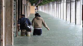 Water floods Venice acqua alta Venezia