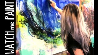 Acrylic painting - abstract painting - acryl malen mit zAcheR-fineT- trying a new TOOL