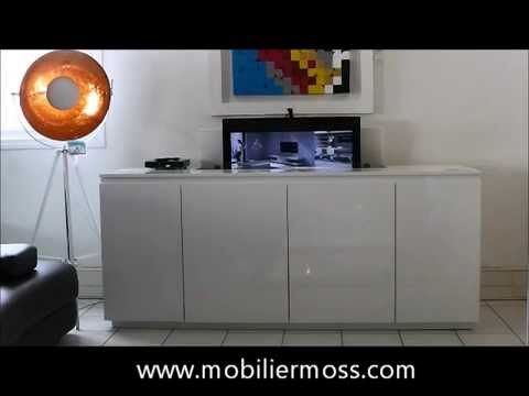 meuble tv cran plat escamotable t l command fran oi doovi. Black Bedroom Furniture Sets. Home Design Ideas