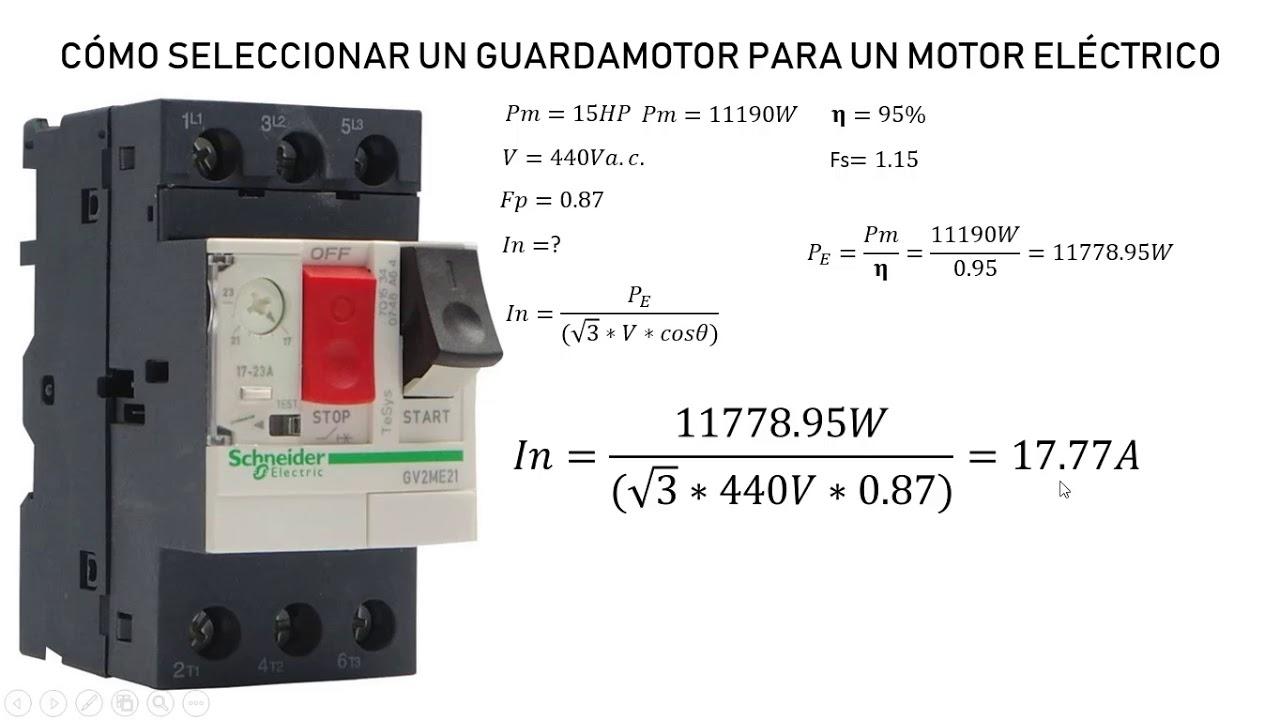 Tabla de contactores para motores trifasicos