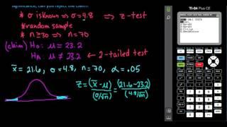 z-Test Using P-value - TI-84