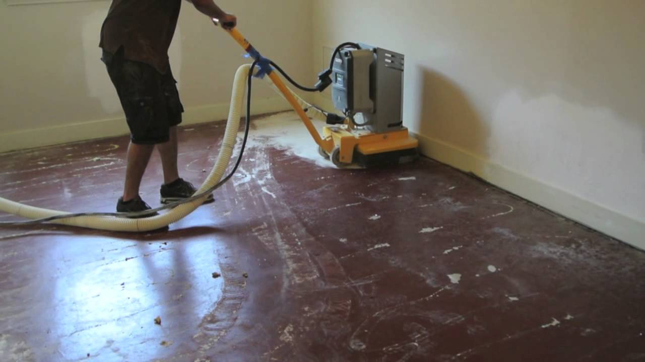Removing paint from concrete with grinder youtube for How to paint concrete floors