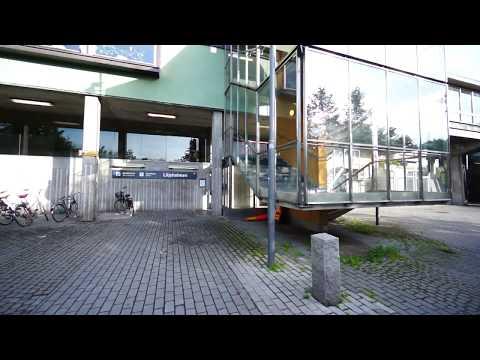 Sweden, Stockholm, Liljeholmen Subway Station, SMW elevator - going down to Trekanten park level