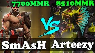 Dota 2 - SmAsH 7700 MMR VS Arteezy 8510 MMR - Ranked Match Gameplay!