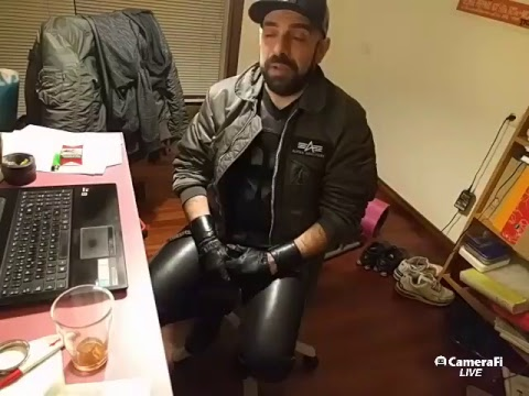 Live broadcast and chat in leather jeans and Alpha bomber jacket. Join and chat!