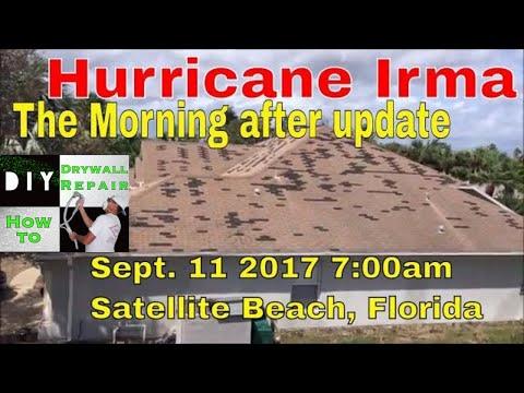 Hurricane Irma- The Morning After Update 9-11-2017 7am from Satellite Beach Florida Hurricane Damage