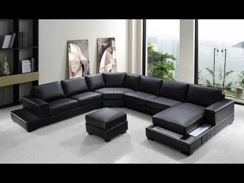 U Shaped Sofa Leather 3 Seater Size In Cm Sectional Youtube