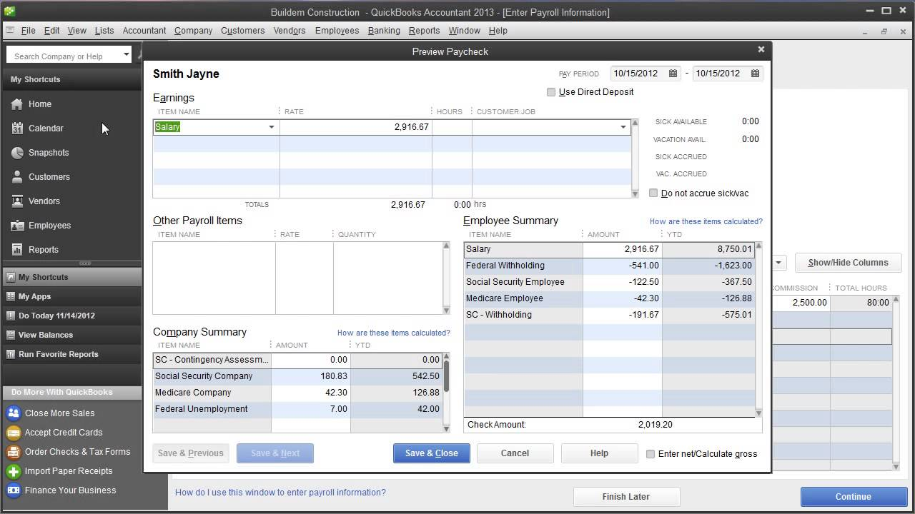 Intuit QuickBooks Payroll Create A Paycheck For S Corp With Tax Tracking Of Fringe Benefit