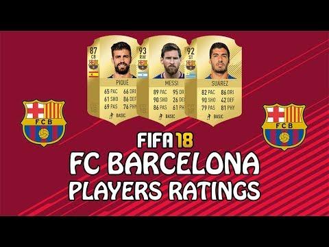 FIFA 18   FC BARCELONA PLAYERS RATINGS   w/ Messi, Suarez & Pique