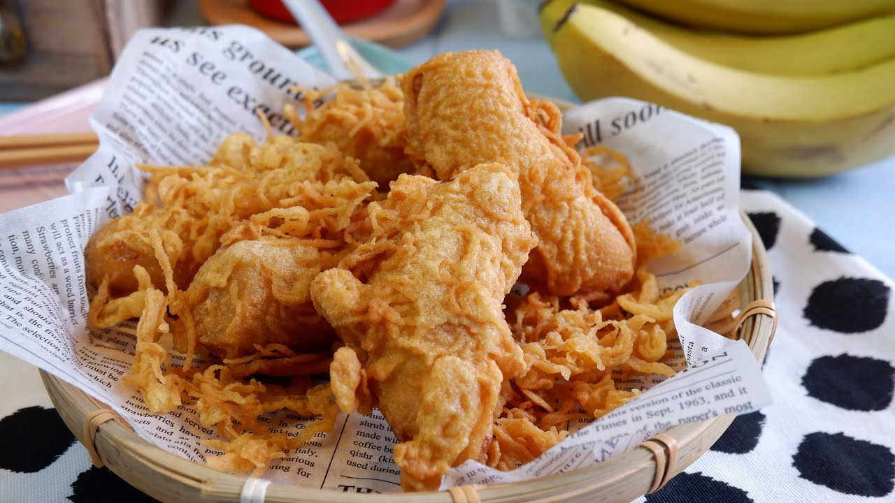 Super Easy Crispy Banana Fritters Goreng Pisang Recipe 香脆炸香蕉 Singapore Malaysian Street Food Youtube