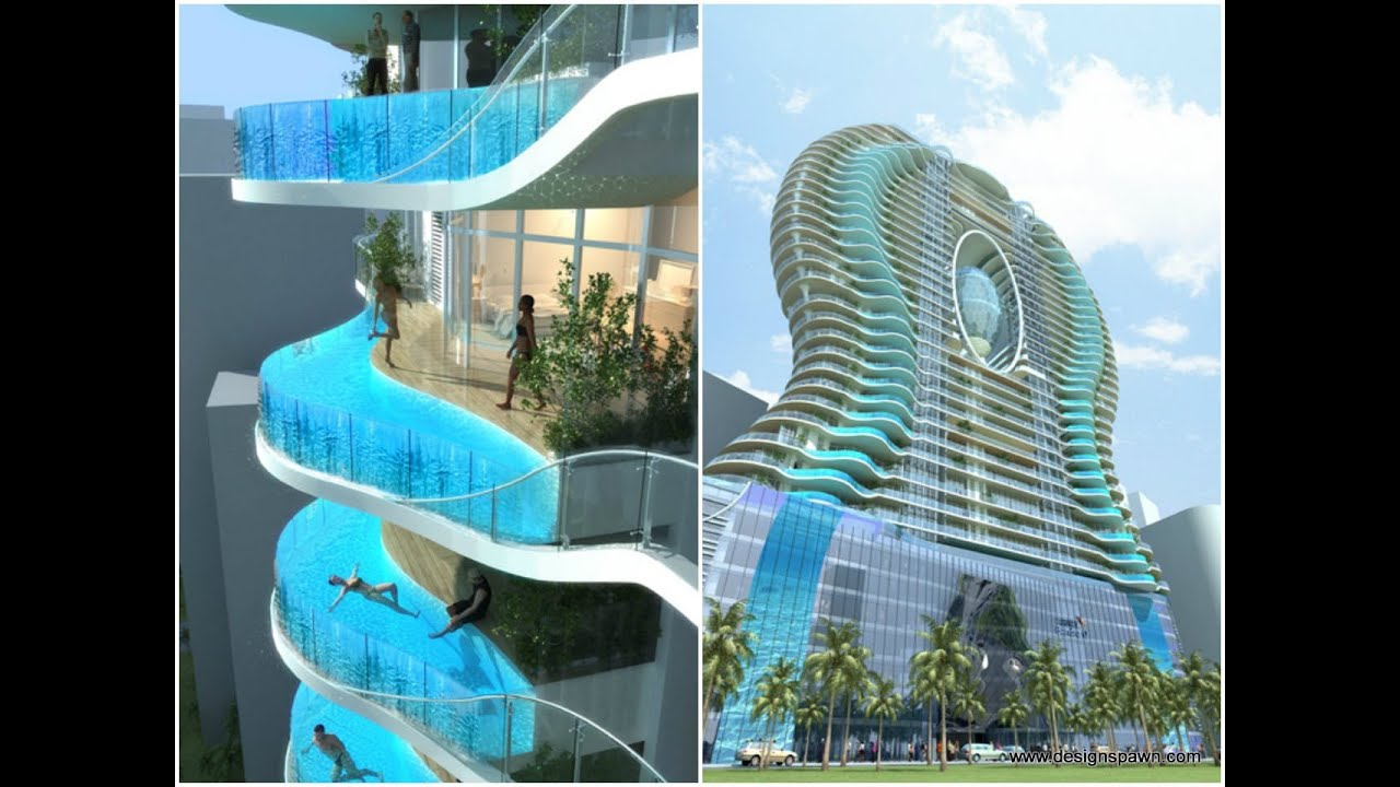 A Swimming Pool in Each Balcony of The Future Tower Ohm Bandra in Mumbai