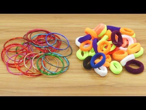 Hair rubber bands & DIY Old bangles reuse idea  | DIY art and craft | DIY HOME DECO