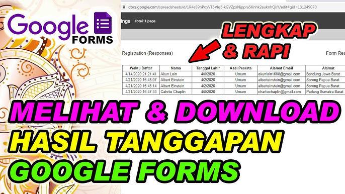 Cara Melihat Dan Mendownload Hasil Tanggapan Google Forms Youtube
