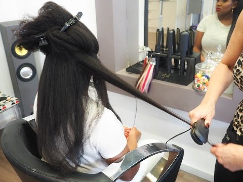 """5 Years Natural: 20"""" LONG Natural African Hair (Blow Dry & Straightening)!!"""