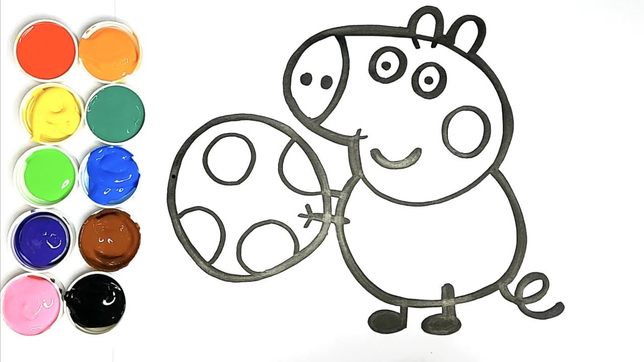 Dessin pour bébé - Comment Dessiner le Frère de Peppa Pig - GEORGE PIG - Kiwi Kids - YouTube