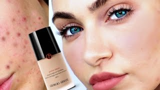 GIORGIO ARMANI Power Fabric Foundation REVIEW For ACNE Skin | Ruby Golani