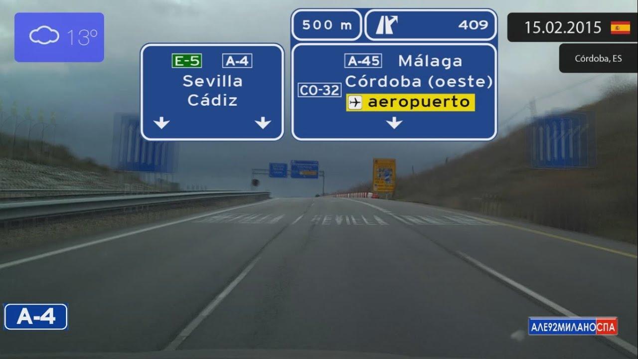 Driving through Andalucía (Spain) from Córdoba to Sevilla ...