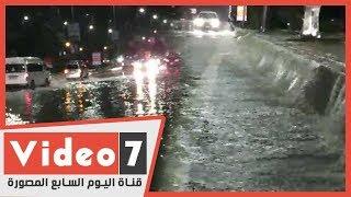 الأمطار تحول التجمع الخامس الى برك وشلالات مياه ربانية