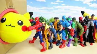 アベンジャーズのスーパーヒーローたちとピカチュウボール 激しい 箱の中で彼は暴れています ぴょこたま♪