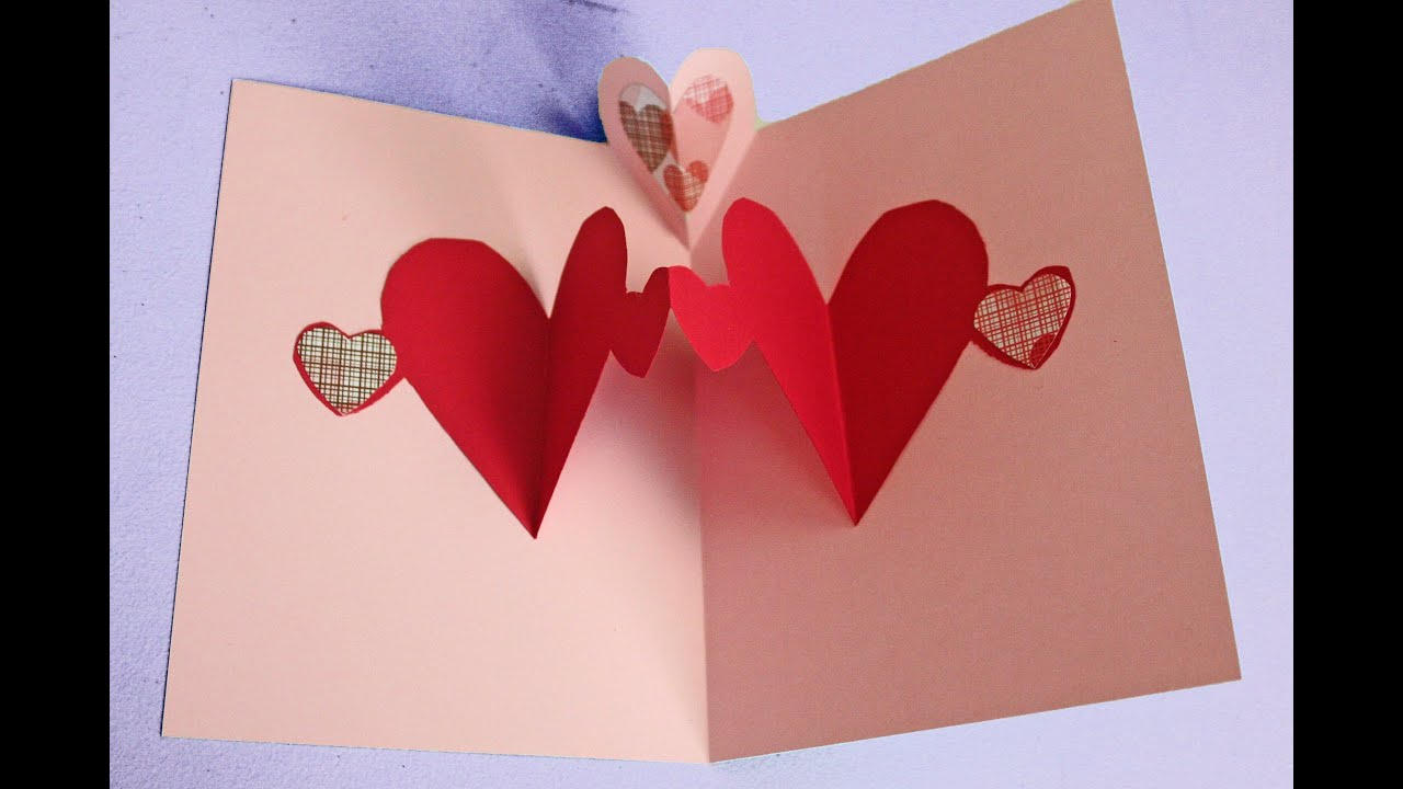Delightful Love Card Making Ideas Part - 3: Easy Pop Up Heart Card Making Tutorial (to Make With Kids Not Just For  Valentineu0027s) - YouTube