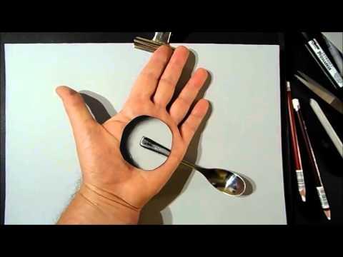 Необычный 3D рисунок с использованием собственной руки