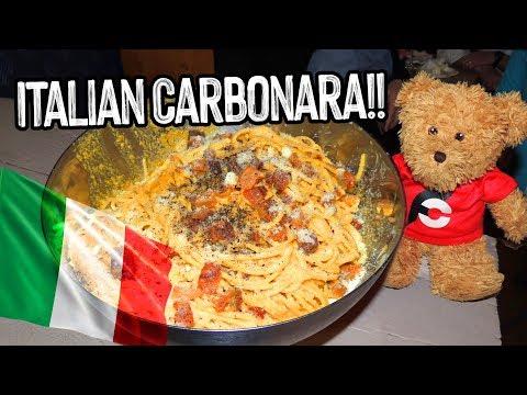 Giant Spaghetti Carbonara Italian Pasta Challenge in Rome, Italy!!