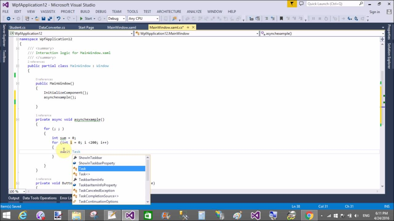 Async Programming example in WPF
