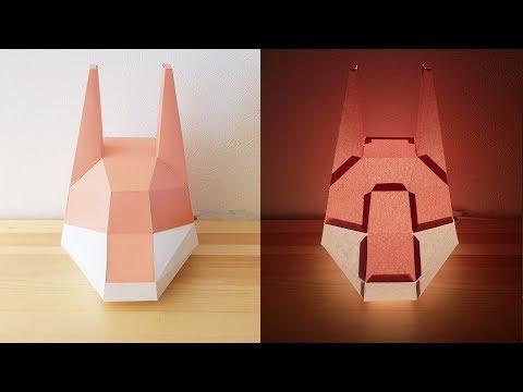 DIY Low Poly Fox Head Paper Lamp Shade - Paper Craft Light