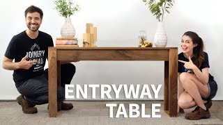 Modern Entryway Table using Finger Joints & Pocket Holes
