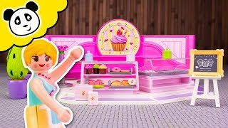 Playmobil Familie - Polizei Einsatz im Cupcake Laden! - Spielzeug auspacken & spielen - Pandido TV