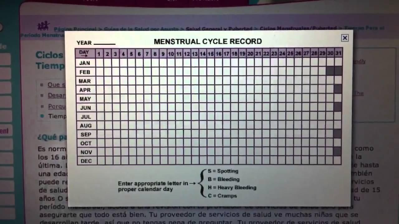Calendario De Periodo Menstrual.Calcula La Duracion De Tu Ciclo Menstrual Calendario Femenino