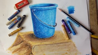 ART IT IS : How to draw and colour bucket in oil pastel for elementary and Intermediate