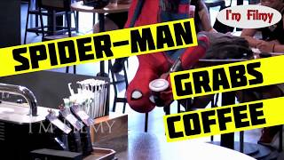 Spider-Man Pranks People at a Coffee Shop - Funny Video - 2017