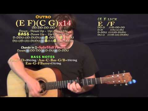 Go Flex (Post Malone) Guitar Lesson Chord Chart - Capo 5th - F C G Am E