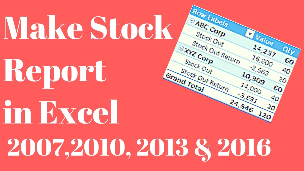 make stock inventory report in excel youtube