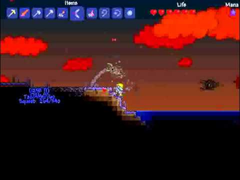 Lets Play Terraria Multiplayer! Episode 16 - Blood Moon & Flamerang!
