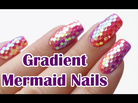 Gradient Mermaid Glitter Nails (Glitter Placement Technique) - Nail Art Tutorial | Lucy's Stash thumbnail
