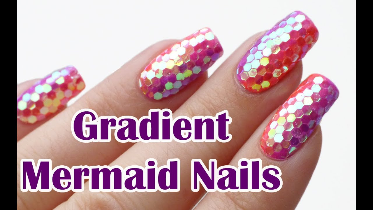 Gradient mermaid glitter nails glitter placement technique gradient mermaid glitter nails glitter placement technique nail art tutorial lucys stash youtube prinsesfo Image collections