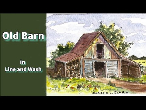Line and wash watercolor painting tutorial - how to draw and paint an old barn